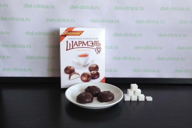 Сахар в зефире в шоколаде
