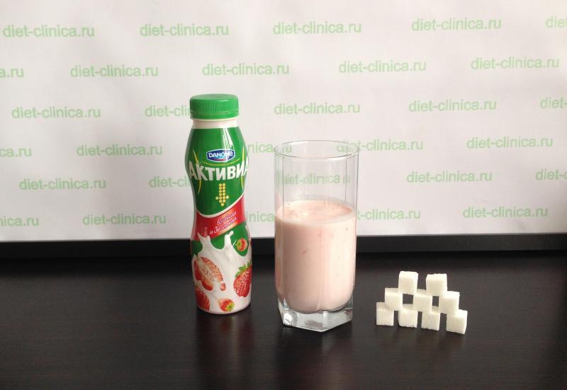 Сахар в Активии фруктовой